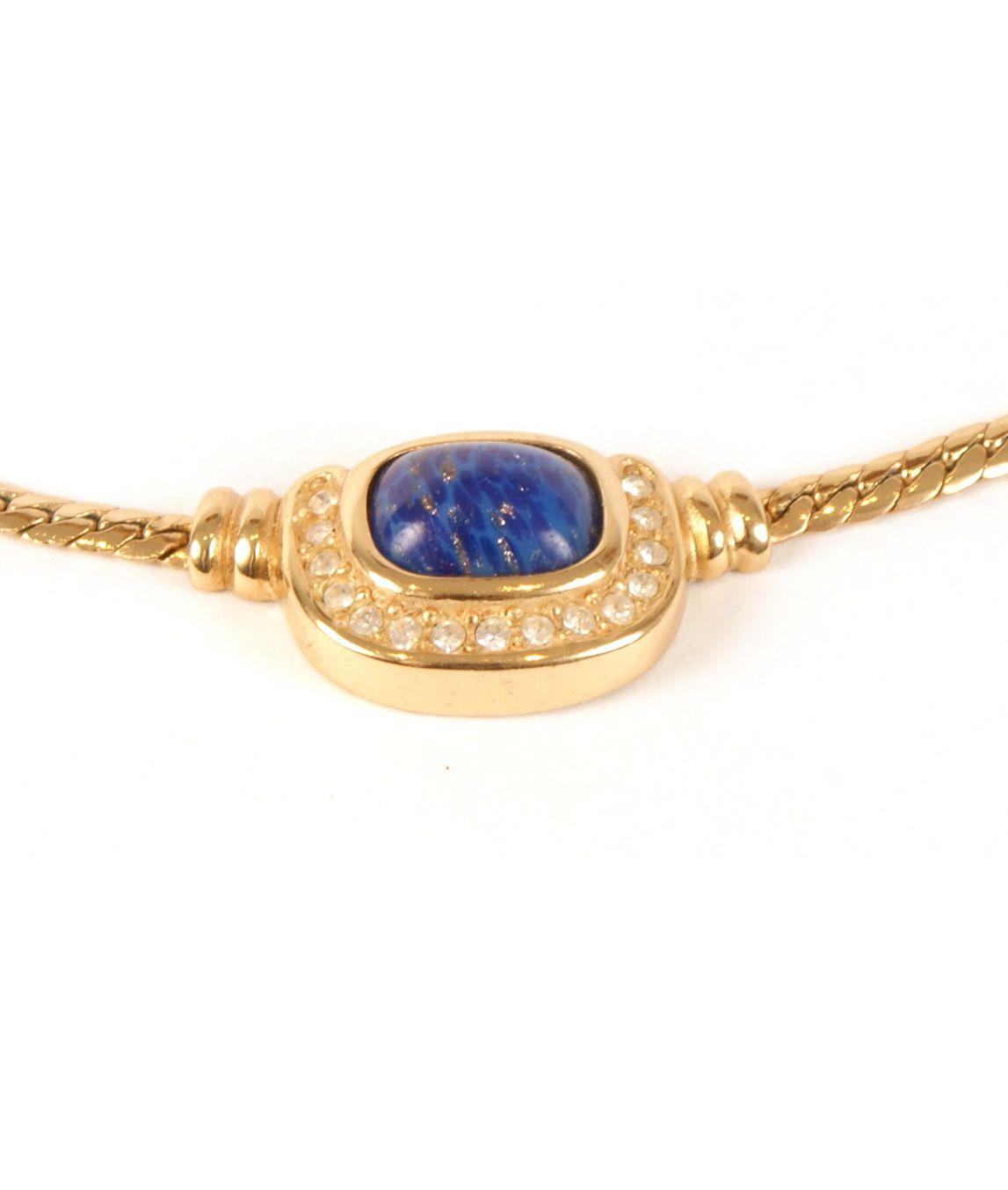 Dior faux lapis lazuli blue stone close up