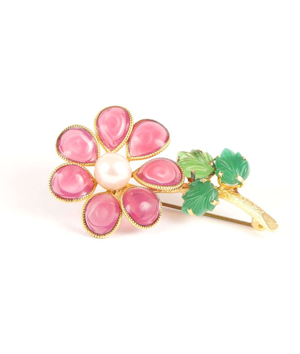 Pink glass flower brooch by Dior