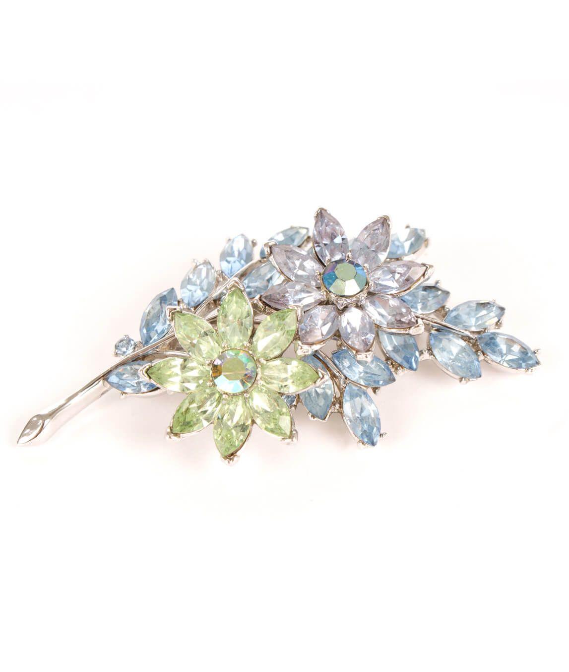 Vintage 1950s Trifari pastel crystal brooch pin