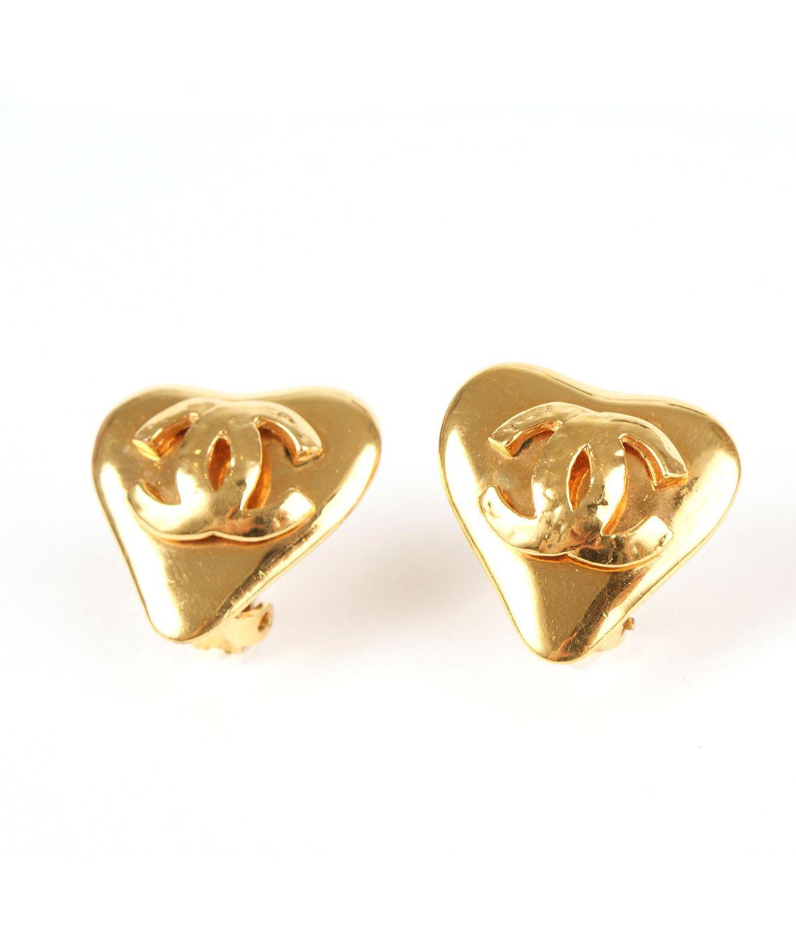 Vintage Chanel heart shaped earrings