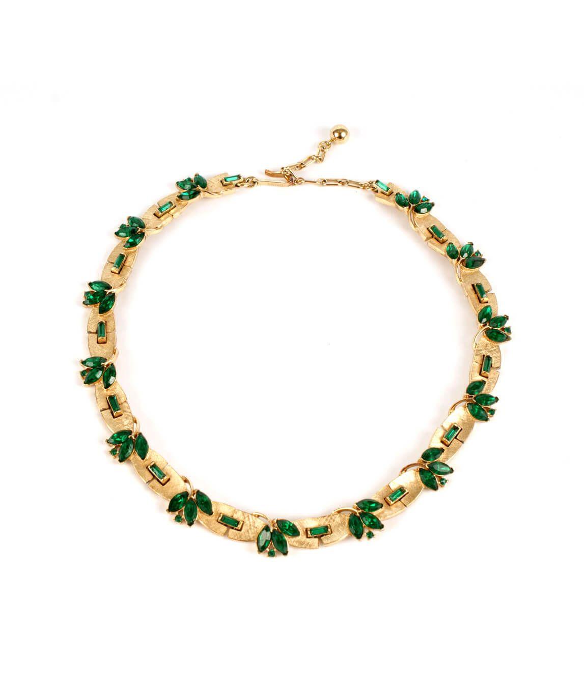 Trifari green and gold choker
