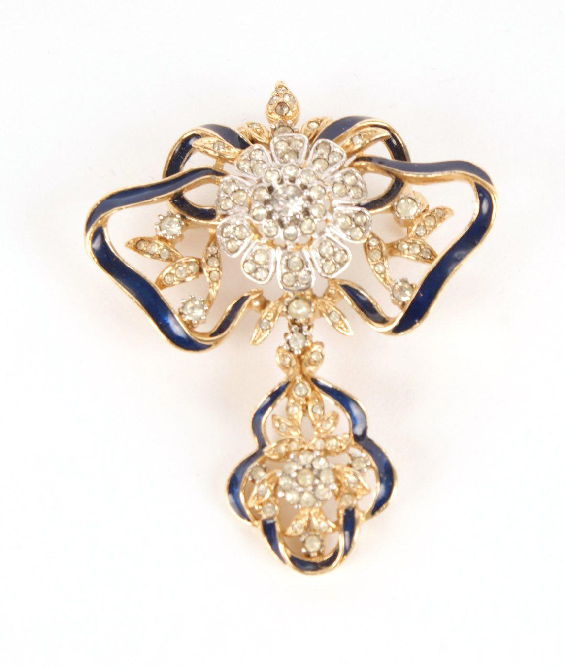 Blue enamelled Attwood & Sawyer brooch