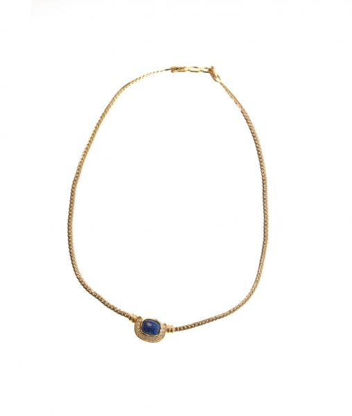 Christian Dior gold necklace with blue stone