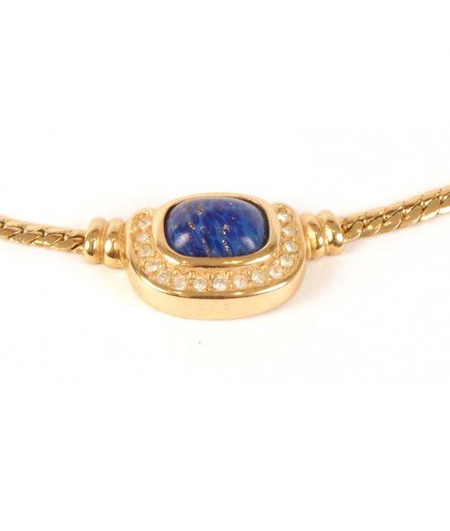1980s Vintage Christian Dior Faux Lapis Lazuli Necklace
