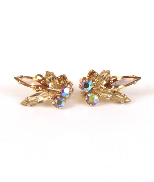 Sherman smoke coloured crystal clip on earrings