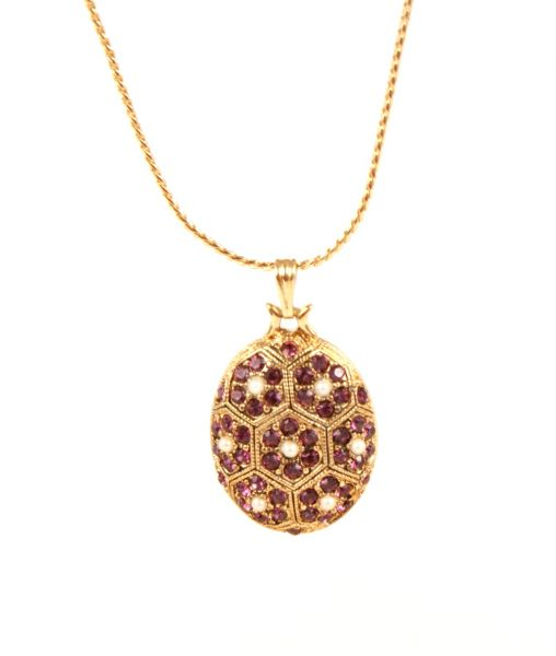 D'Orlan pendant with purple flowers