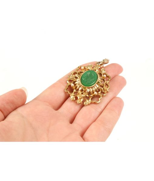 Kenneth Jay Lane green cameo pendant size