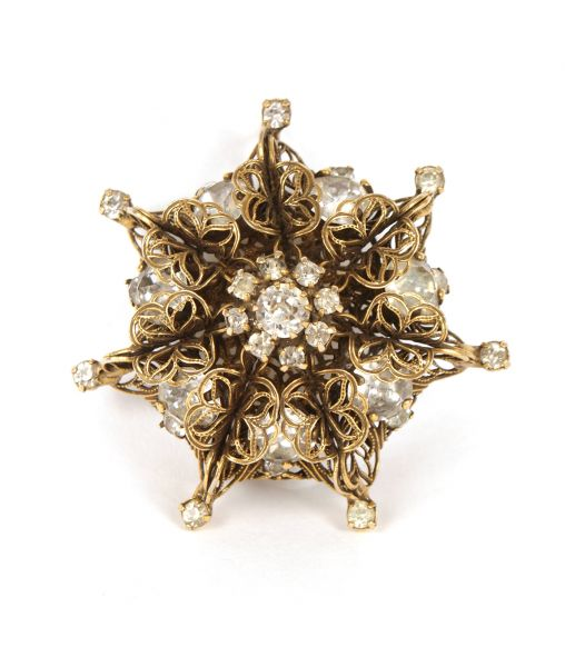 Kramer Filigree Crystal Brooch