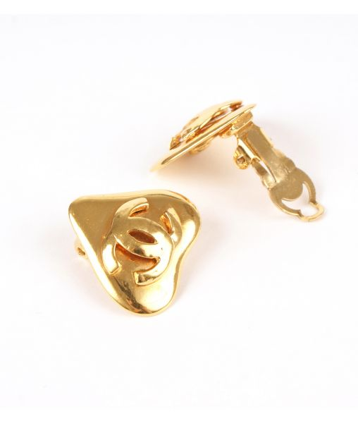 Vintage Chanel clip-on gold plated earrings