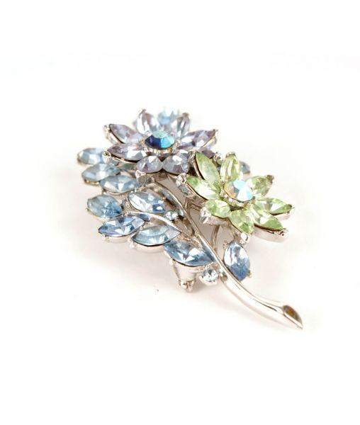 Blue and green crystal Trifari brooch 1950s