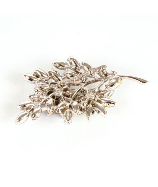 Rhodium plated Trifari brooch
