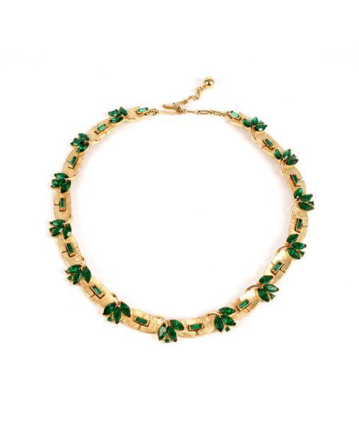 Trifari Gold and Emerald Coloured Necklace