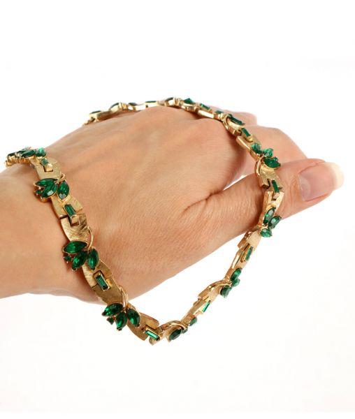 Trifari emerald glass necklace