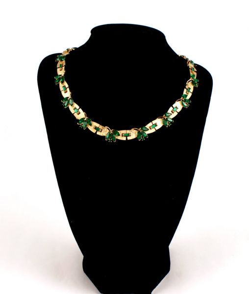 Trifari green and gold necklace