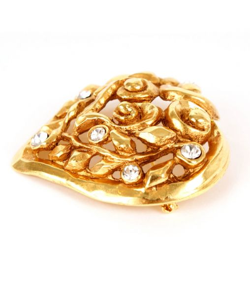 Lacroix gold brooch side