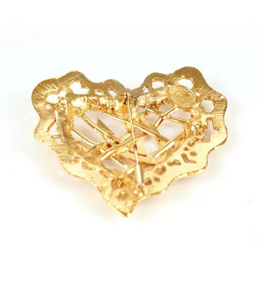 Christian Lacroix openwork heart brooch
