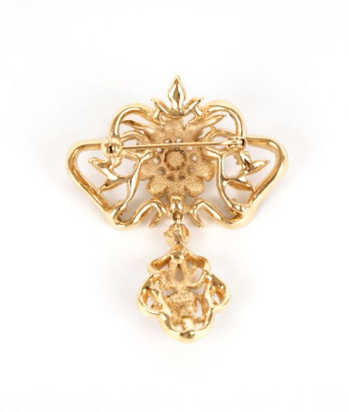 Gold plated reverse Attwood & Sawyer brooch