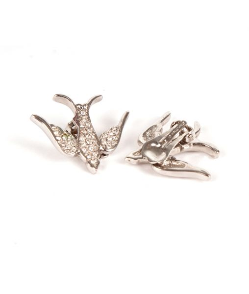 Silver plated bird earrings by Dior